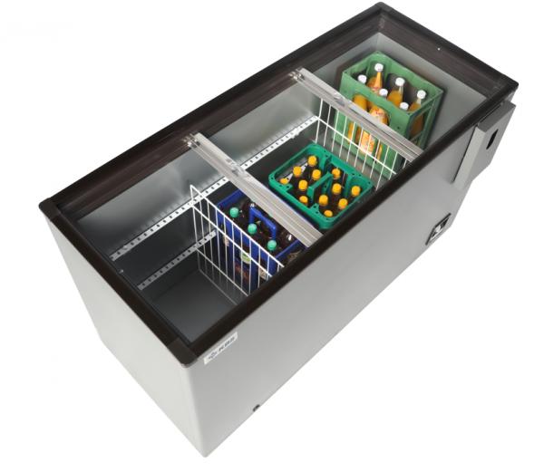 Flaschen-Kühltruhe mit CNS-Schiebedeckel AL 140
