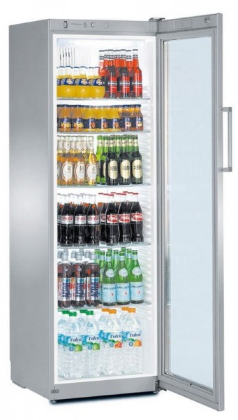 Flaschenkühlschrank mit Umluftkühlung und Glastürkühlschrank FKvsl 4113