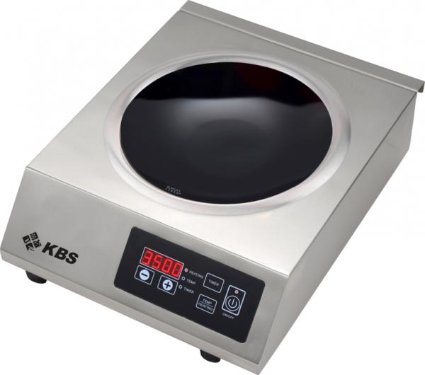 Induktionswok Edelstahlgehäuse 3,5 kW Schott-Ceran ® Glaskeramik-Kochfläche