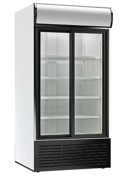 Glastür Kühlschrank mit 2 Schiebetüren und Display KBS 1250 GDU ST