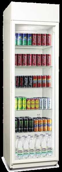Getränke-Kühlschrank mit Display und 2 vertikalen Linien LED-Innenbeleuchtung weiß