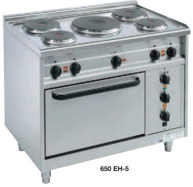Elektroherde mit 5 runden Kochplatten Bautiefe 650 mm 650-JEH-5