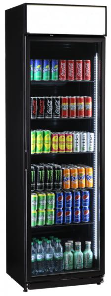 Getränke-Kühlschrank mit Display und 2 vertikalen Linien LED-Innenbeleuchtung schwarz FLK 365