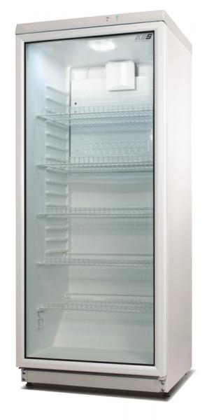 Glastür-Kühlschrank mit LED-Beleuchtung und weißem Türrahmen FLK 292